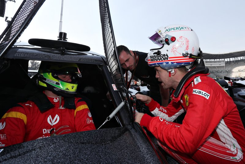 Sebastian Vettel and Mick Schumacher at ROC Mexico 2019