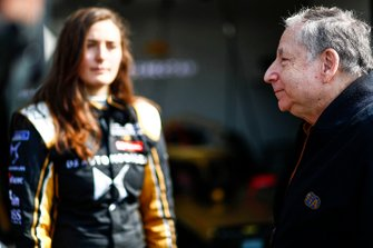 Jean Todt, FIA President talks to Tatiana Calderon, DS TECHEETAH