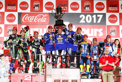 Podium: race winners Katsuyuki Nakasuga, Alex Lowes, Michael Van Der Mark, Yamaha Factory Racing Team