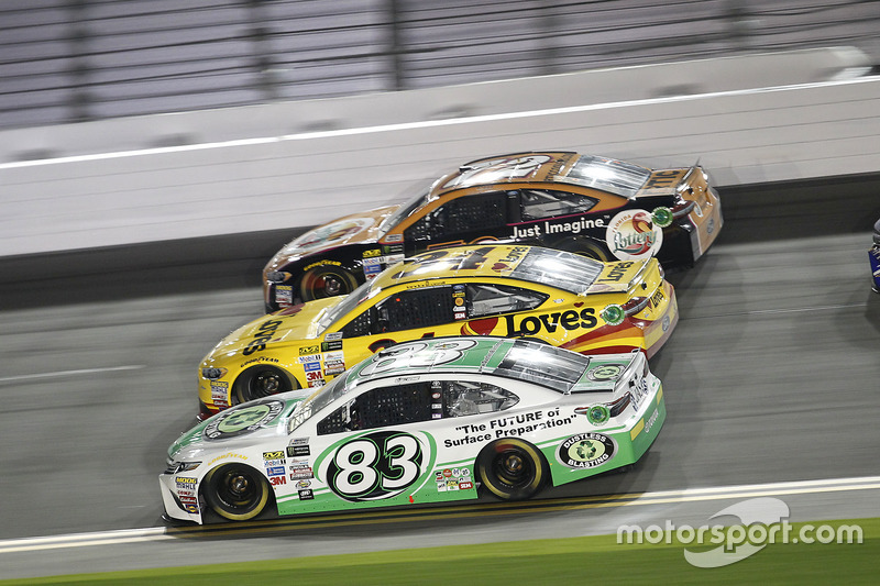 Corey LaJoie, BK Racing, Toyota; Landon Cassill, Front Row Motorsports, Ford; Cole Whitt, TriStar Motorsports, Ford