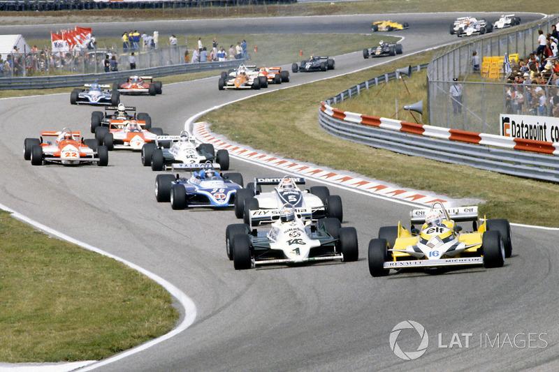 Рене Арну, Renault RE30, Алан Джонс, Williams FW07C-Ford Cosworth, Нельсон Піке, Brabham, BT49C-Ford Cosworth, Жак Лаффіт, Ligier JS17-Matra
