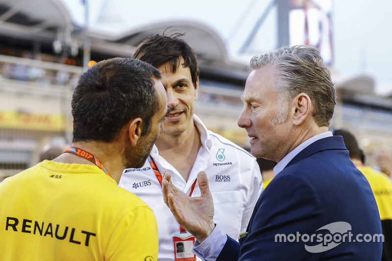 Cyril Abiteboul, Managing Director, Renault Sport F1 Team, Toto Wolff, Executive Director, Mercedes AMG, and Sean Bratches, Managing Director of Commercial Operations, Formula One Group