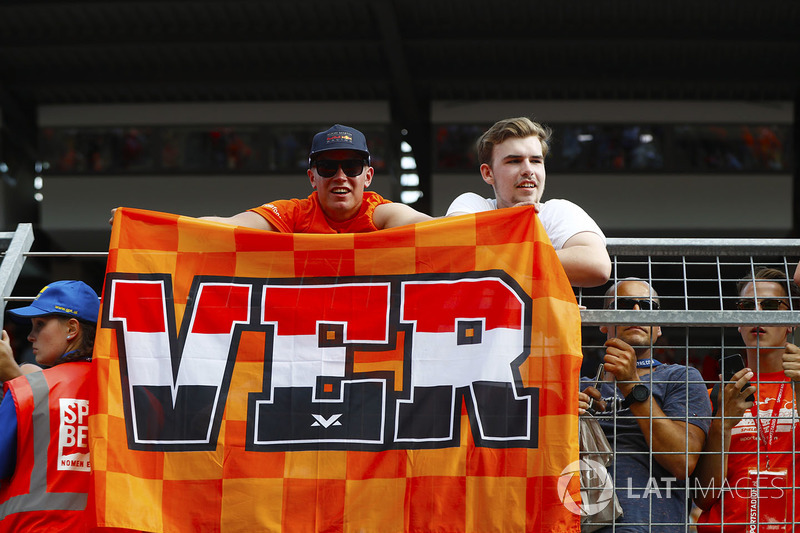 Dutch Max Verstappen, Red Bull Racing, fans display a flag