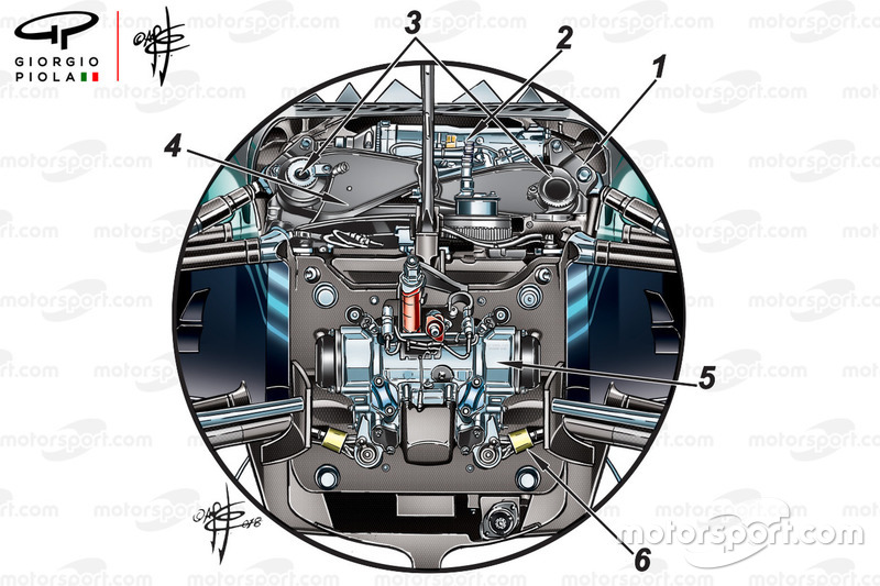 Mercedes W09 front suspension, captioned