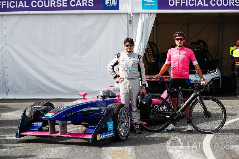 Cyclist Gianni Moscon, Racing driver, Giancarlo Fisichella, with the Formula E track car