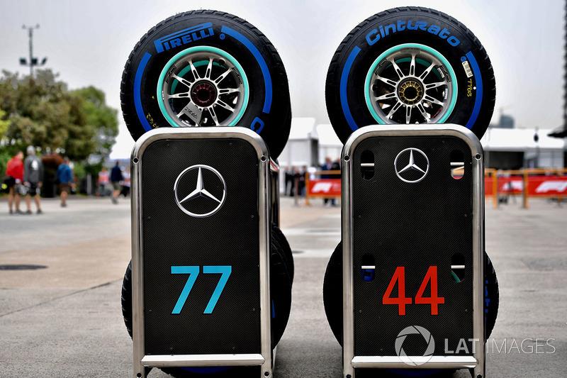 Pirelli tyres for Lewis Hamilton, Mercedes-AMG F1 and Valtteri Bottas, Mercedes-AMG F1