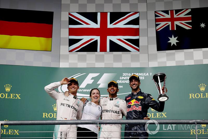 2016 : 1. Lewis Hamilton, 2. Nico Rosberg, 3. Daniel Ricciardo