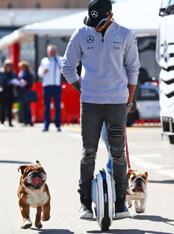 Lewis Hamilton, Mercedes AMG F1 op een hoverboard in de paddock met zijn honden Roscoe en Coco