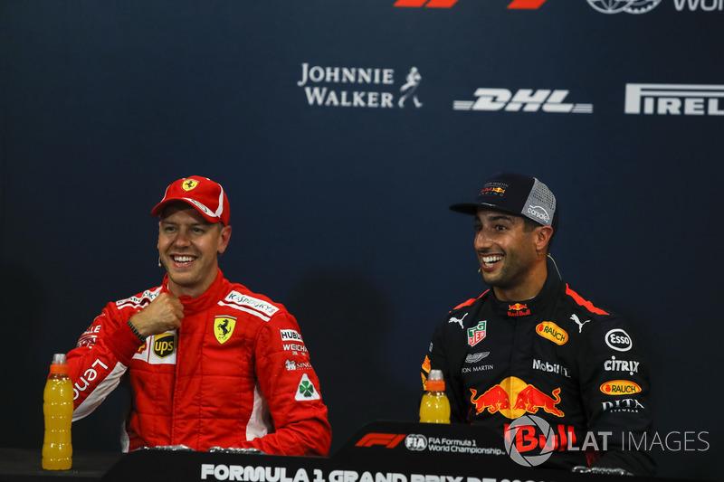 Sebastian Vettel, Ferrari és Daniel Ricciardo, Red Bull Racing