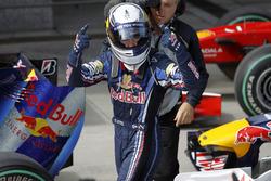 Sebastian Vettel, Red Bull Racing celebrates his pole position