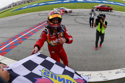Kyle Busch, Joe Gibbs Racing, Toyota Camry Skittles Red White & Blue celebrates
