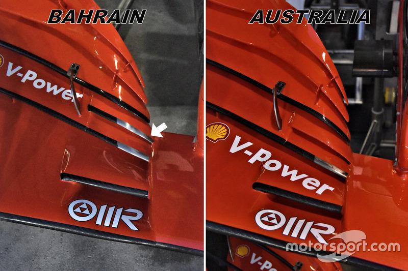 EVOLUCIÓN DE FERRARI DE MELBOURNE A BAHREIN .    F1-bahrain-gp-2018-ferrari-sf71h-front-wing-comparison