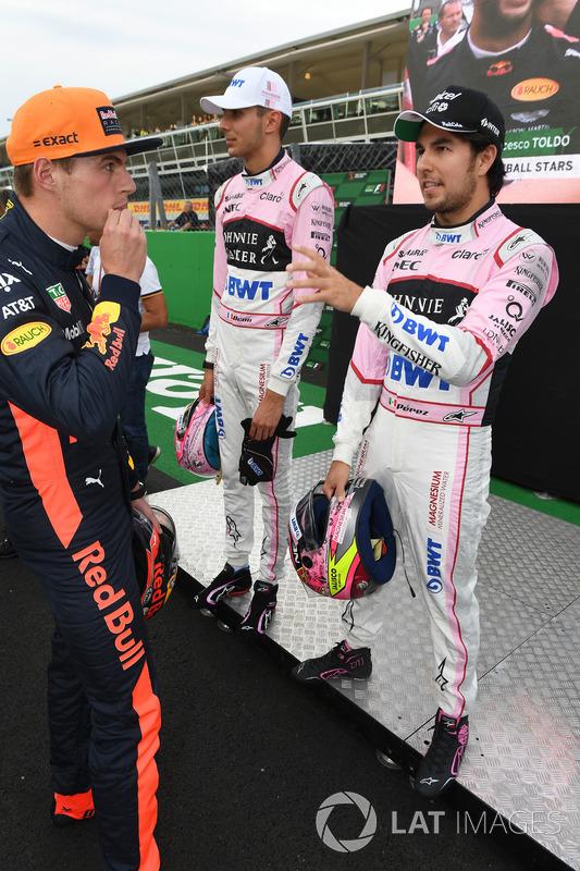 Esteban Ocon, Sahara Force India F1, Sergio Perez, Sahara Force India and Max Verstappen, Red Bull Racing