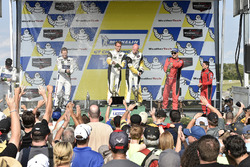 GTLM podium: race winners Antonio Garcia, Jan Magnussen, Corvette Racing, second place Ryan Briscoe, Richard Westbrook, Ford Performance Chip Ganassi Racing, third place Giancarlo Fisichella, Toni Vilander, Risi Competizione