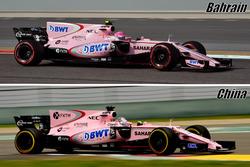Comparación de aletas de tiburón del Force India VJM10