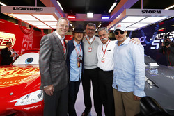 Sean Bratches, Managing Director of Commercial Operations, Formula One Group, Owen Wilson, Ross Brawn, Managing Director of Motorsports, FOM, Chase Carey, Chairman, Formula One, Woody Harrelson in the Cars 3 garage
