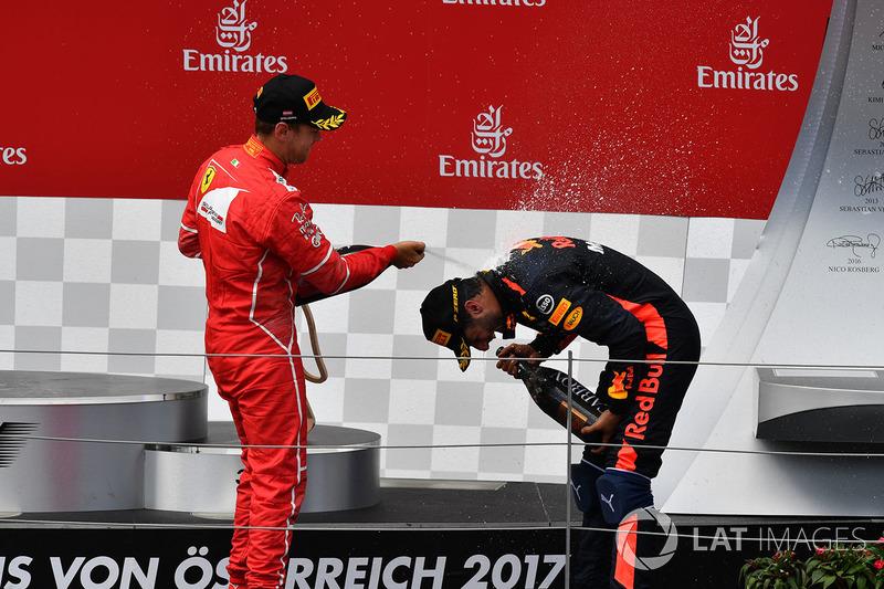 2. Sebastian Vettel, Ferrari; 3. Daniel Ricciardo, Red Bull Racing