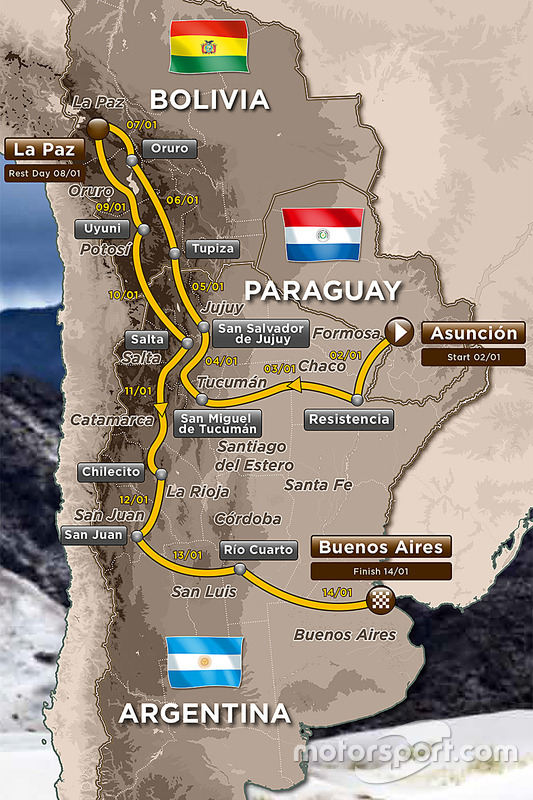 Die Route der Rallye Dakar 2017