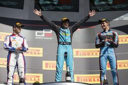Podium: race winner Arjun Maini, Jenzer Motorsport, second place Dorian Boccolacci, Trident, third place Alessio Lorandi, Jenzer Motorsport