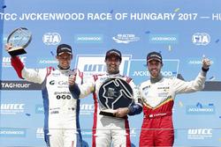 Trophy Podium: Race winner Mehdi Bennani, Sébastien Loeb Racing, Citroën C-Elysée WTCC, second place Tom Chilton, Sébastien Loeb Racing, Citroën C-Elysée WTCC, third place Esteban Guerrieri, Campos Racing, Chevrolet RML Cruze TC1