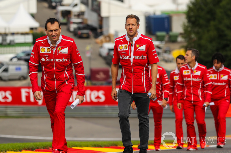 Sebastian Vettel, Ferrari walks the track, Adami, Ferrari Race Engineer