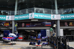 The garage name board of Daniil Kvyat, Scuderia Toro Rosso is removed