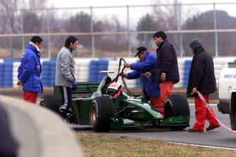 Johnny Herbert has problems with the Jaguar R1