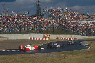 Ayrton Senna, McLaren MP4/8 Ford; Eddie Irvine, Jordan 193; Damon Hill, Williams FW15C