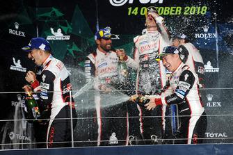 Podium LMP1: winners Mike Conway, Kamui Kobayashi, Jose Maria Lopez, second place Sebastien Buemi, Toyota Gazoo Racing