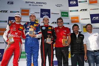 Podium: Race winner Robert Shwartzman, PREMA Theodore Racing Dallara F317 - Mercedes-Benz, second place Mick Schumacher, PREMA Theodore Racing Dallara F317 - Mercedes-Benz, third place Jonathan Aberdein, Motopark Dallara F317 - Volkswagen