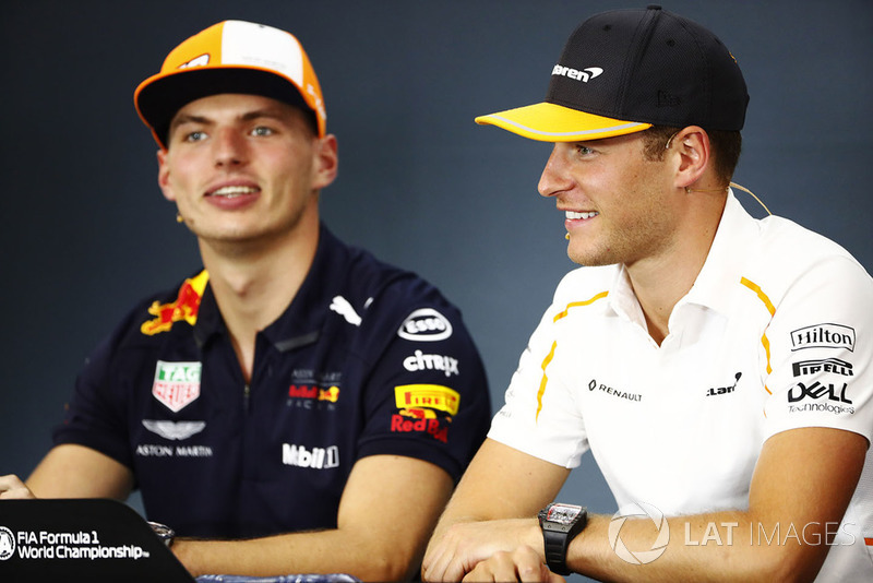 Stoffel Vandoorne, McLaren, and Max Verstappen, Red Bull Racing, in the Thursday press conference