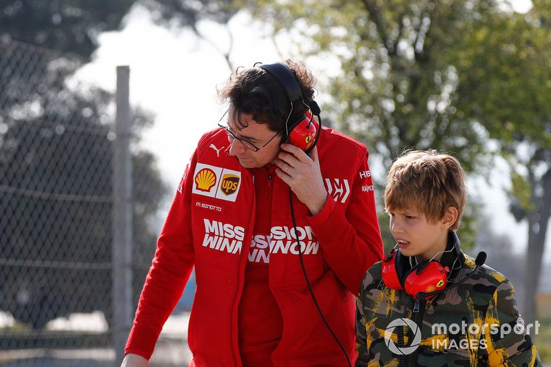 Mattia Binotto, Ferrari Team Principal with the son of John Elkann, FIAT Chairman