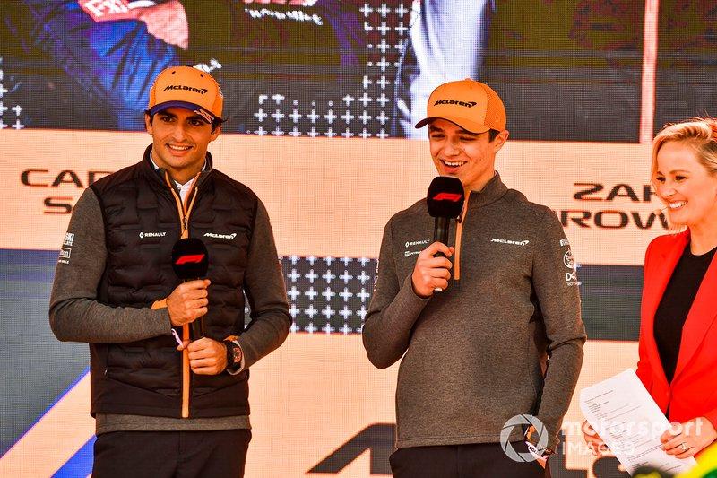 Carlos Sainz Jr., McLaren and Lando Norris, McLaren at the Federation Square event