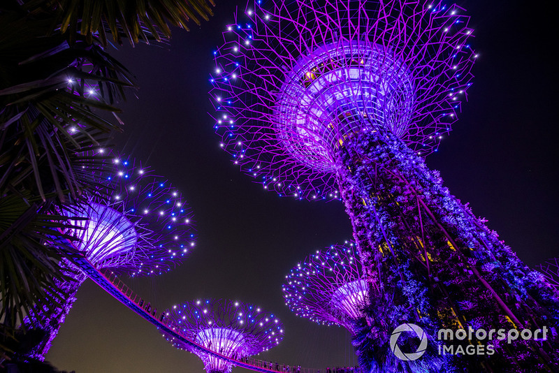 Pemandangan Supertree Grove di Gardens by the Bay