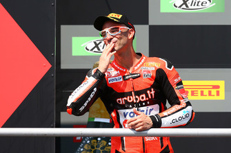 Podium: second place Marco Melandri, Aruba.it Racing-Ducati SBK Team