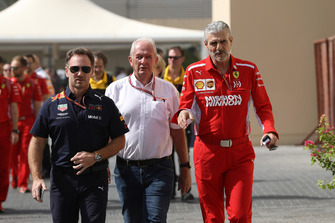 Christian Horner, Red Bull Racing Team Principal, Dr Helmut Marko, Red Bull Motorsport Consultant and Maurizio Arrivabene, Ferrari Team Principal