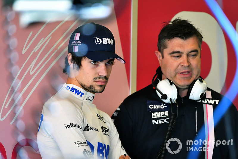 Lance Stroll, Racing Point Force India F1 and Bradley Joyce, Racing Point Force India F1 Race Engineer