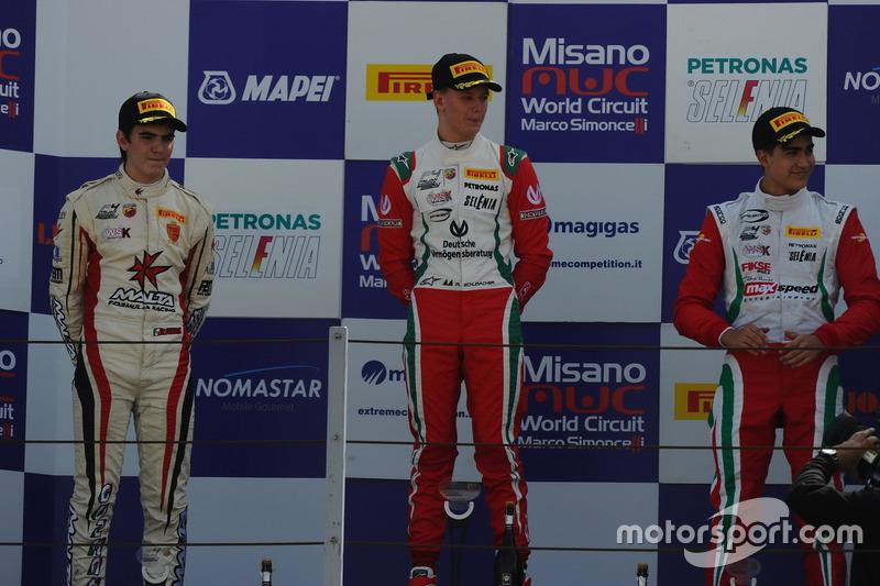 Podium: Mick Schumacher, Prema Powerteam; Raul Guzman Marchina, DR Formula; Juan Manuel Correa, Prema Powerteam