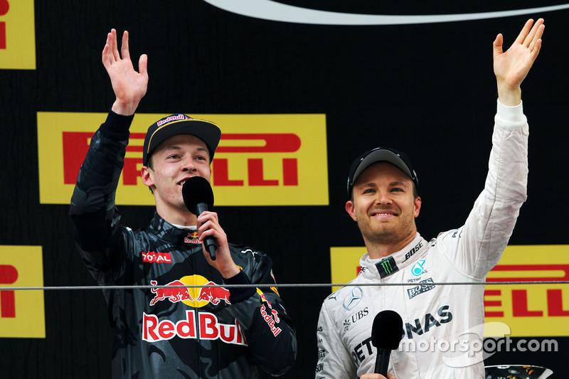 Podium: winner Nico Rosberg, Mercedes AMG F1 Team, third place Daniil Kvyat, Red Bull Racing