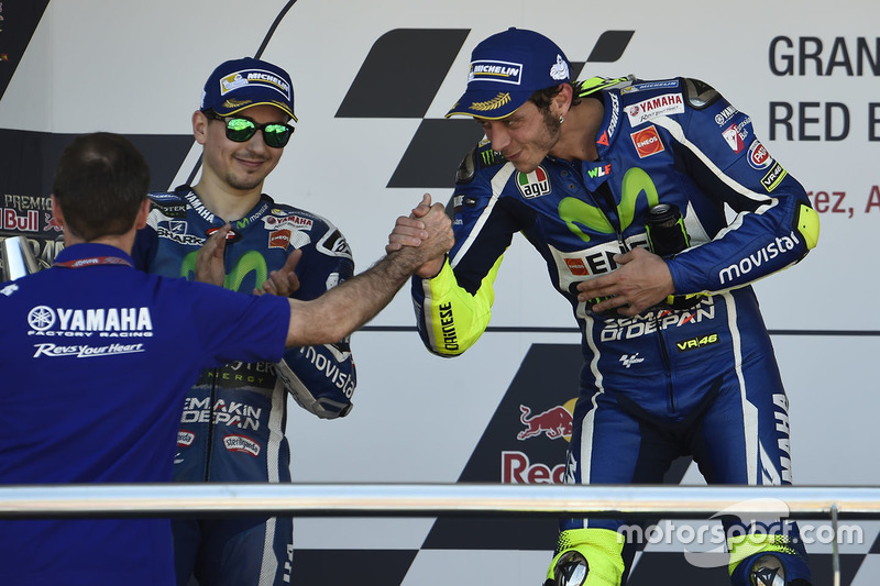 Podium: winner Valentino Rossi, Yamaha Factory Racing, second place Jorge Lorenzo, Yamaha Factory Racing