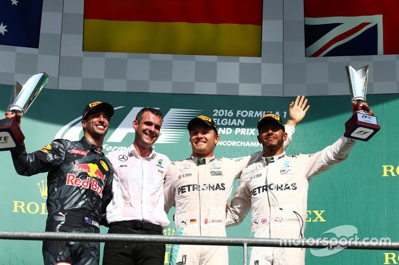 Podyum: 1. Nico Rosberg, Mercedes AMG F1 W07; 2. Daniel Ricciardo, Red Bull Racing RB12, 3. Lewis Hamilton, Mercedes AMG F1 W07