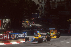 Start zum Rennen, Alain Prost, Williams FW15C Renault vor Michael Schumacher, Benetton B193B Ford; Damon Hill, Williams FW15C Renault und Ayrton Senna, McLaren MP4/8 Ford