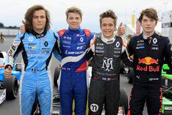 Race winner Robert Shwartzman, Josef Kaufmann Racing, Max Defourny, R-ace GP, Sacha Fenestraz, Josef