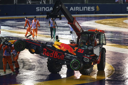 The carshed car of Max Verstappen, Red Bull Racing RB13 is recovered