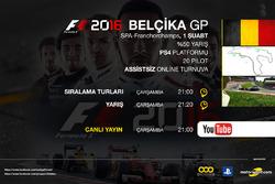 F1 2016 Turnuva Belçika GP