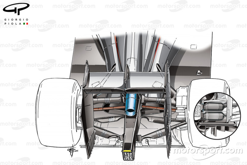 McLaren MP4/30 rear suspension comparison