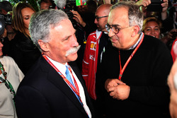 Chase Carey, Chief Executive Officer and Executive Chairman of the Formula One Group and Sergio Marchionne, CEO FIAT  at Ferrari 70th Anniversary