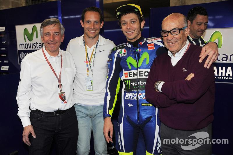 Claude Michy, promoteur du Grand Prix de France, Renaud Lavillenie, Valentino Rossi, Carmelo Ezpeleta, PDG Dorna Sports