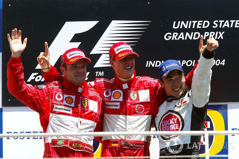 2004: 1. Michael Schumacher, 2. Rubens Barrichello, 3. Takuma Sato