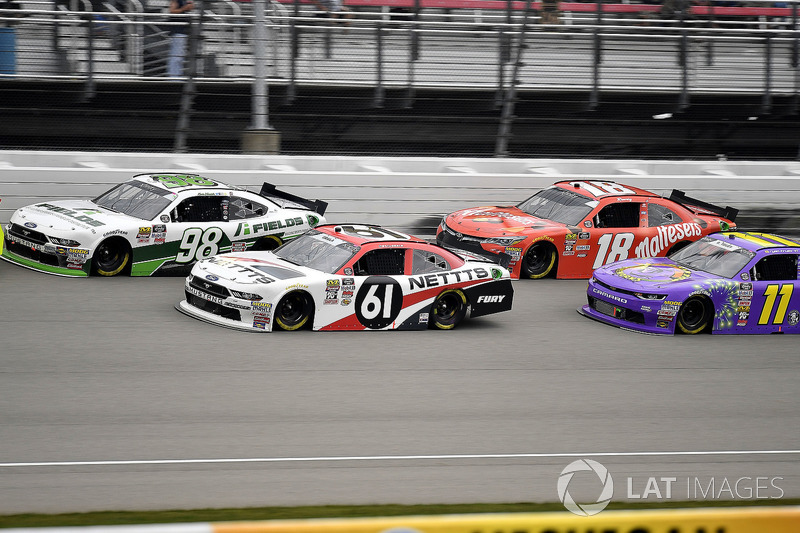 Kevin Harvick, Biagi-DenBeste Racing, Ford Mustang FIELDS, Kaz Grala, Fury Race Cars LLC, Ford Mustang NETTTS, Kyle Busch, Joe Gibbs Racing, Toyota Camry Maltesers, and Ryan Truex, Kaulig Racing, Chevrolet Camaro Phantom Fireworks